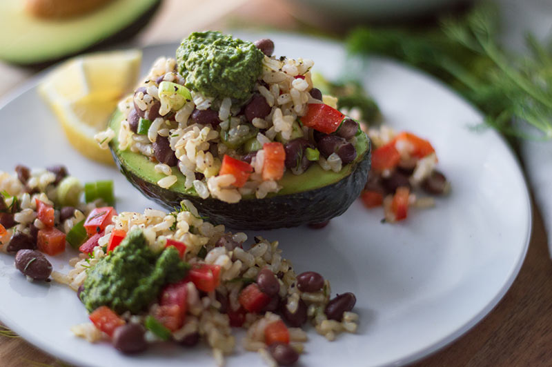 Stuffed Avocado with Brown Rice Salad